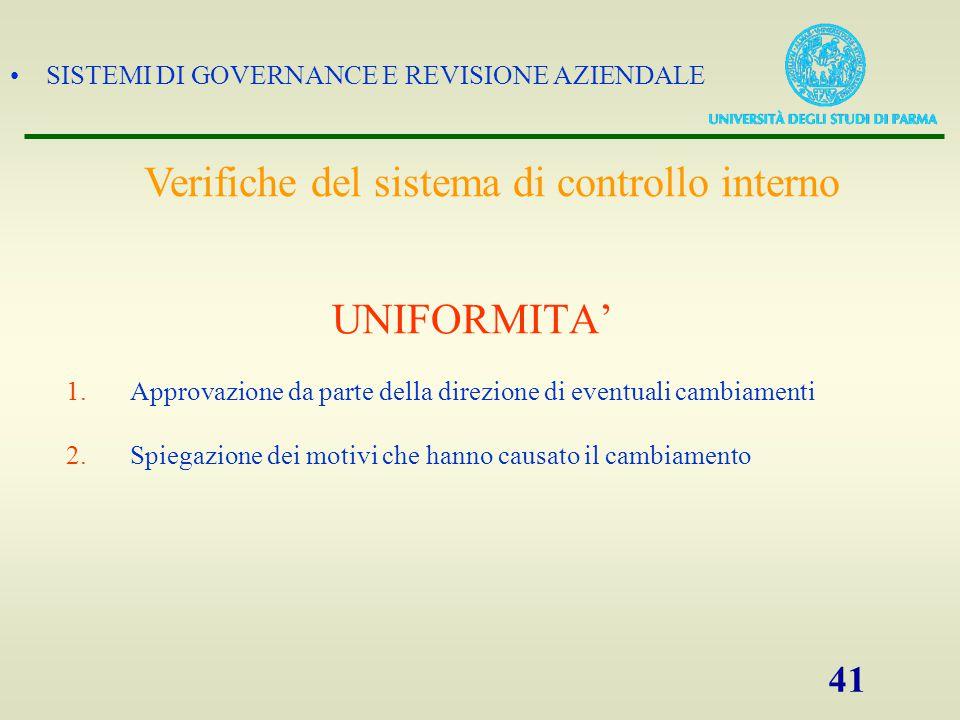SISTEMI DI GOVERNANCE E REVISIONE AZIENDALE 41 UNIFORMITA' 1.Approvazione da parte della direzione di eventuali cambiamenti 2.Spiegazione dei motivi c