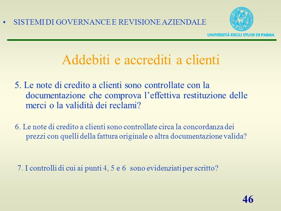 SISTEMI DI GOVERNANCE E REVISIONE AZIENDALE 46 5. Le note di credito a clienti sono controllate con la documentazione che comprova l'effettiva restitu