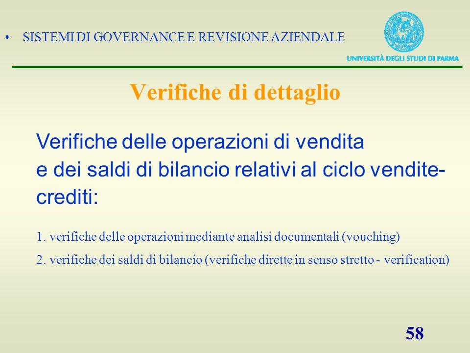 SISTEMI DI GOVERNANCE E REVISIONE AZIENDALE 58 1. verifiche delle operazioni mediante analisi documentali (vouching) 2. verifiche dei saldi di bilanci