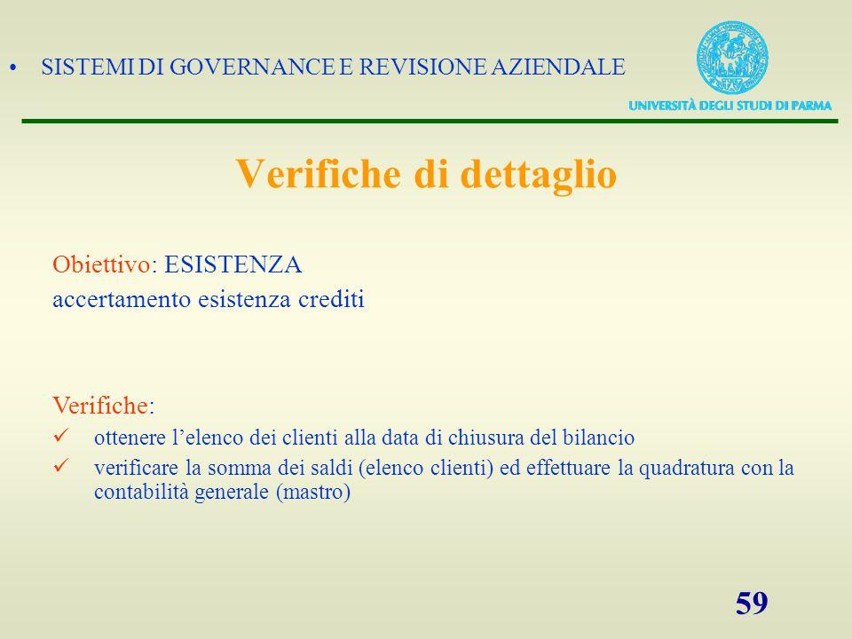 SISTEMI DI GOVERNANCE E REVISIONE AZIENDALE 59 Obiettivo: ESISTENZA accertamento esistenza crediti Verifiche: ottenere l'elenco dei clienti alla data