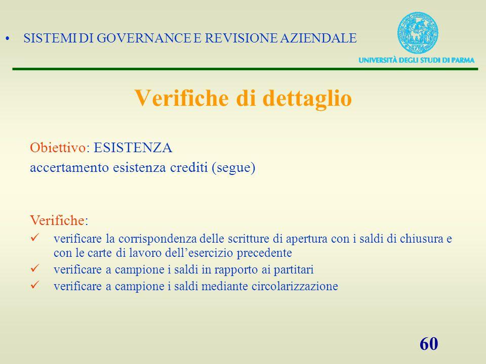 SISTEMI DI GOVERNANCE E REVISIONE AZIENDALE 60 Obiettivo: ESISTENZA accertamento esistenza crediti (segue) Verifiche: verificare la corrispondenza del