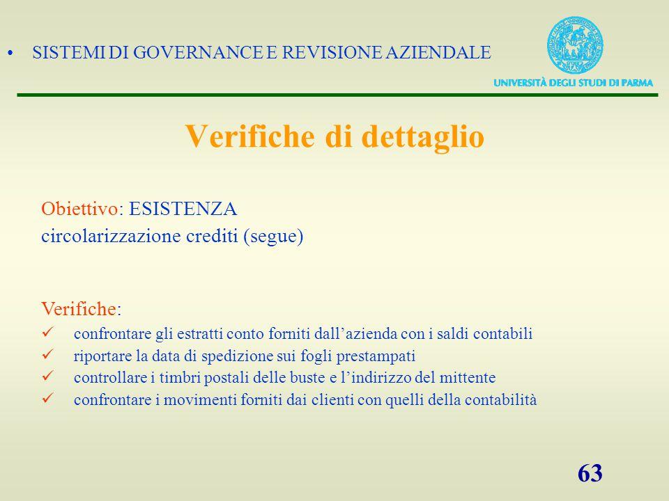 SISTEMI DI GOVERNANCE E REVISIONE AZIENDALE 63 Obiettivo: ESISTENZA circolarizzazione crediti (segue) Verifiche: confrontare gli estratti conto fornit