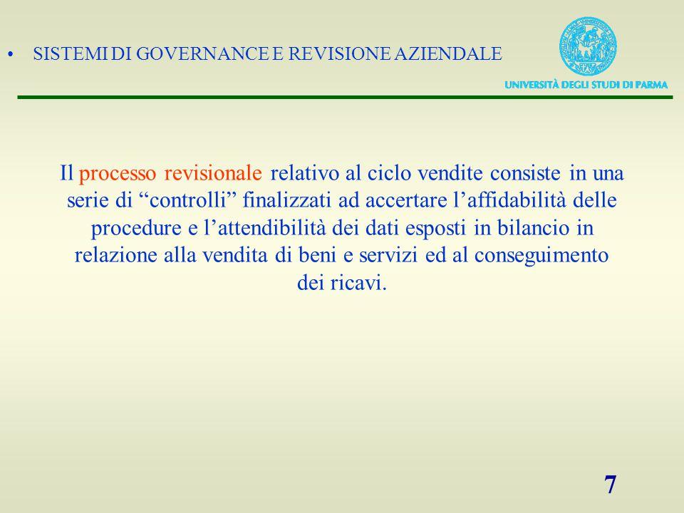 """SISTEMI DI GOVERNANCE E REVISIONE AZIENDALE 7 Il processo revisionale relativo al ciclo vendite consiste in una serie di """"controlli"""" finalizzati ad ac"""