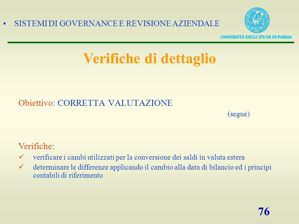 SISTEMI DI GOVERNANCE E REVISIONE AZIENDALE 76 Obiettivo: CORRETTA VALUTAZIONE (segue) Verifiche: verificare i cambi utilizzati per la conversione dei