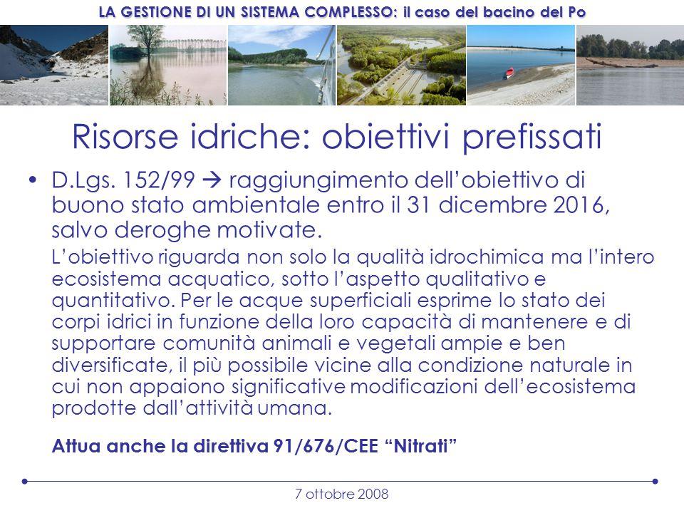 LA GESTIONE DI UN SISTEMA COMPLESSO: il caso del bacino del Po 7 ottobre 2008 Risorse idriche: obiettivi prefissati D.Lgs.