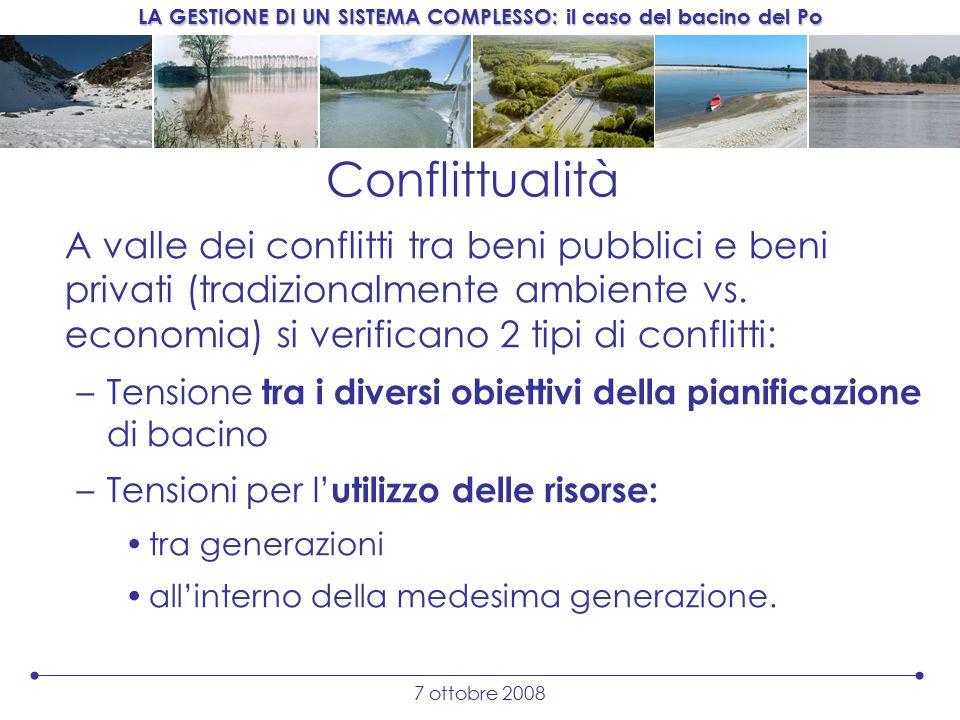 LA GESTIONE DI UN SISTEMA COMPLESSO: il caso del bacino del Po 7 ottobre 2008 Conflittualità A valle dei conflitti tra beni pubblici e beni privati (tradizionalmente ambiente vs.
