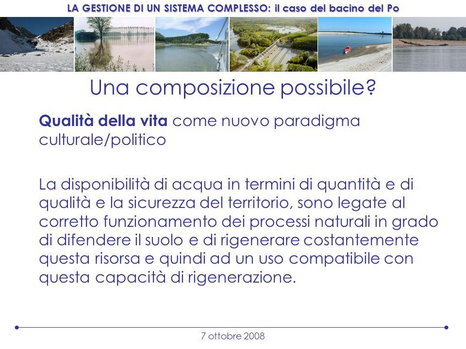 LA GESTIONE DI UN SISTEMA COMPLESSO: il caso del bacino del Po 7 ottobre 2008 Una composizione possibile.