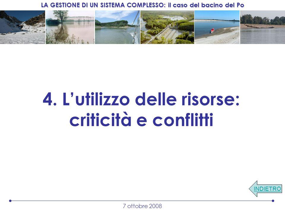 LA GESTIONE DI UN SISTEMA COMPLESSO: il caso del bacino del Po 7 ottobre 2008 4.