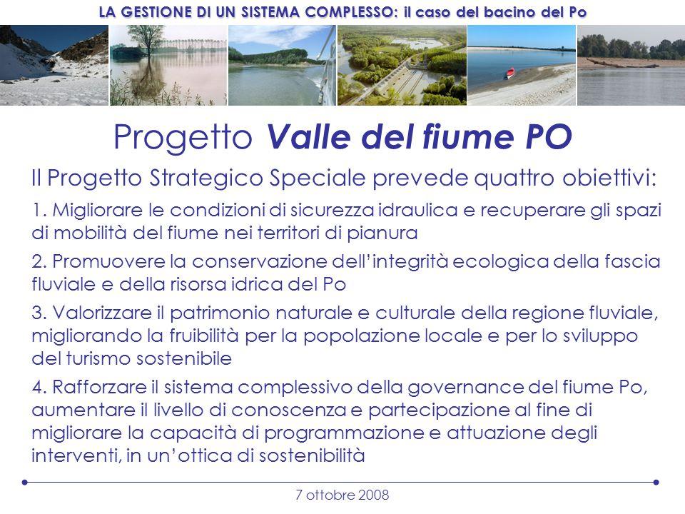 LA GESTIONE DI UN SISTEMA COMPLESSO: il caso del bacino del Po 7 ottobre 2008 Progetto Valle del fiume PO Il Progetto Strategico Speciale prevede quattro obiettivi: 1.