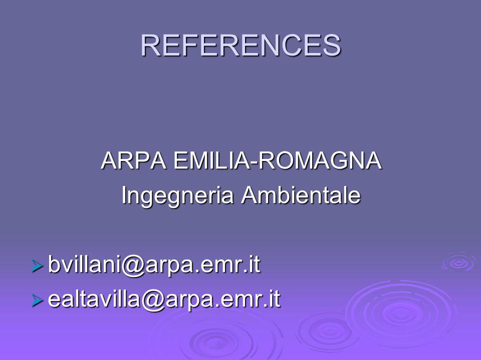 REFERENCES ARPA EMILIA-ROMAGNA Ingegneria Ambientale  bvillani@arpa.emr.it  ealtavilla@arpa.emr.it