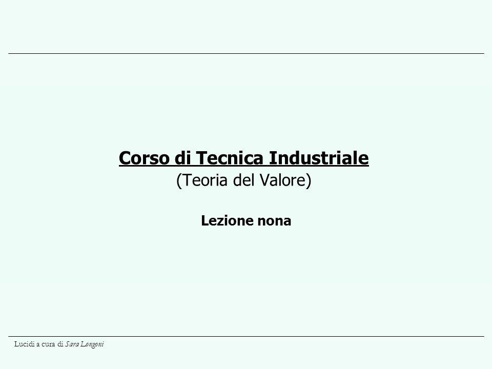 Lucidi a cura di Sara Longoni Lezione nona Corso di Tecnica Industriale (Teoria del Valore)