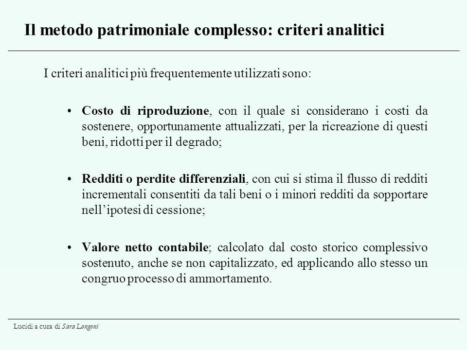 Lucidi a cura di Sara Longoni Il metodo patrimoniale complesso: criteri analitici I criteri analitici più frequentemente utilizzati sono: Costo di rip