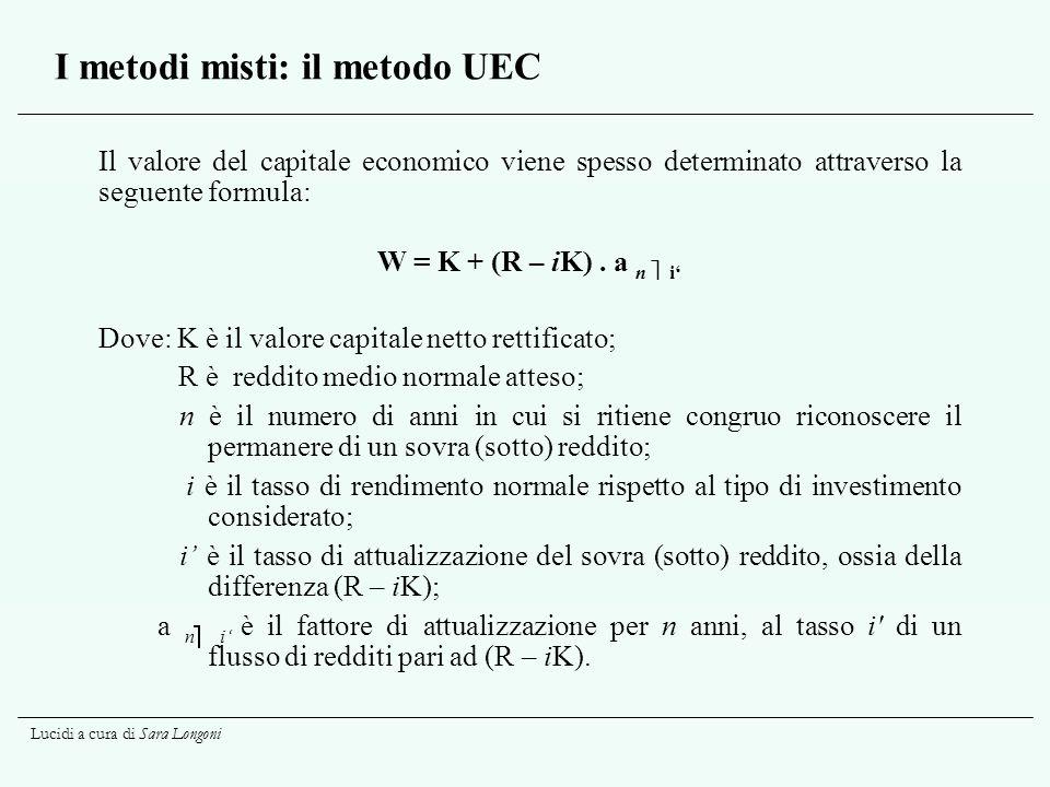 Lucidi a cura di Sara Longoni I metodi misti: il metodo UEC Il valore del capitale economico viene spesso determinato attraverso la seguente formula: