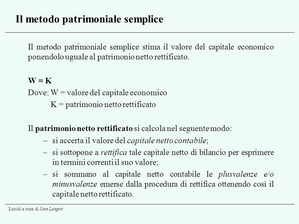 Lucidi a cura di Sara Longoni Il metodo patrimoniale semplice Il metodo patrimoniale semplice stima il valore del capitale economico ponendolo uguale