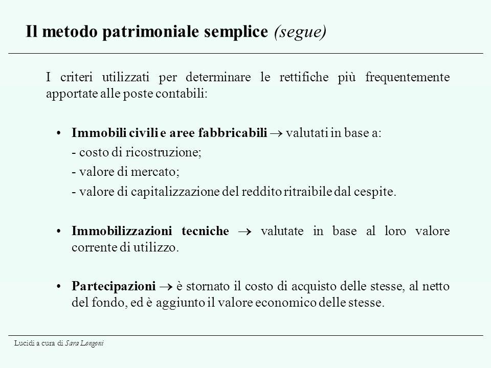 Lucidi a cura di Sara Longoni Il metodo patrimoniale semplice (segue) I criteri utilizzati per determinare le rettifiche più frequentemente apportate