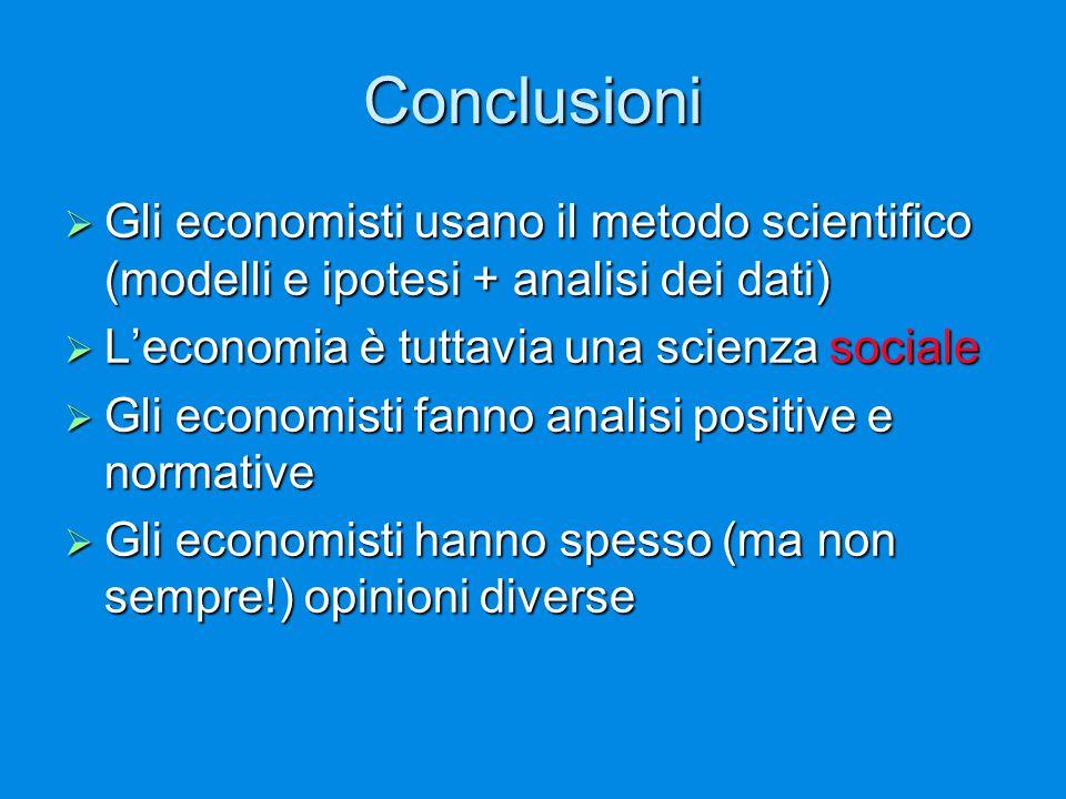 Conclusioni  Gli economisti usano il metodo scientifico (modelli e ipotesi + analisi dei dati)  L'economia è tuttavia una scienza sociale  Gli economisti fanno analisi positive e normative  Gli economisti hanno spesso (ma non sempre!) opinioni diverse