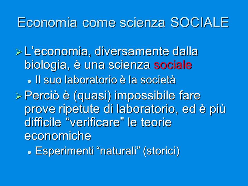 Economia come scienza SOCIALE  L'economia, diversamente dalla biologia, è una scienza sociale Il suo laboratorio è la società Il suo laboratorio è la società  Perciò è (quasi) impossibile fare prove ripetute di laboratorio, ed è più difficile verificare le teorie economiche Esperimenti naturali (storici) Esperimenti naturali (storici)
