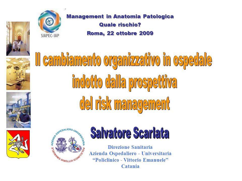 Contenuto della presentazione Le organizzazioni sanitarie come sistemi complessi L'errore in medicina Il cambiamento organizzativo per la safety Conclusioni