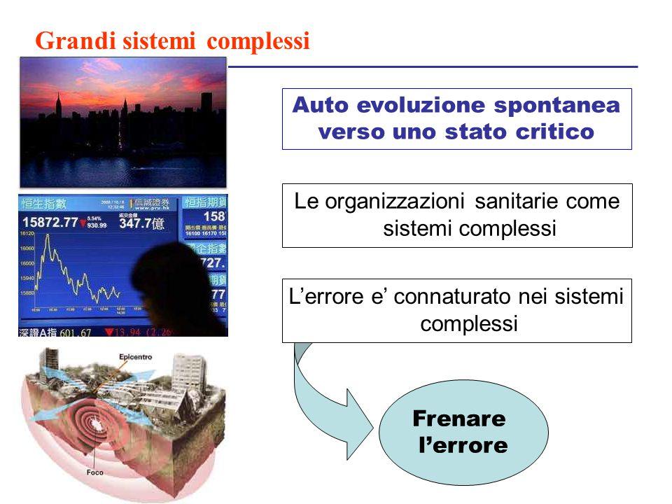 Grandi sistemi complessi Frenare l'errore Auto evoluzione spontanea verso uno stato critico Le organizzazioni sanitarie come sistemi complessi L'error