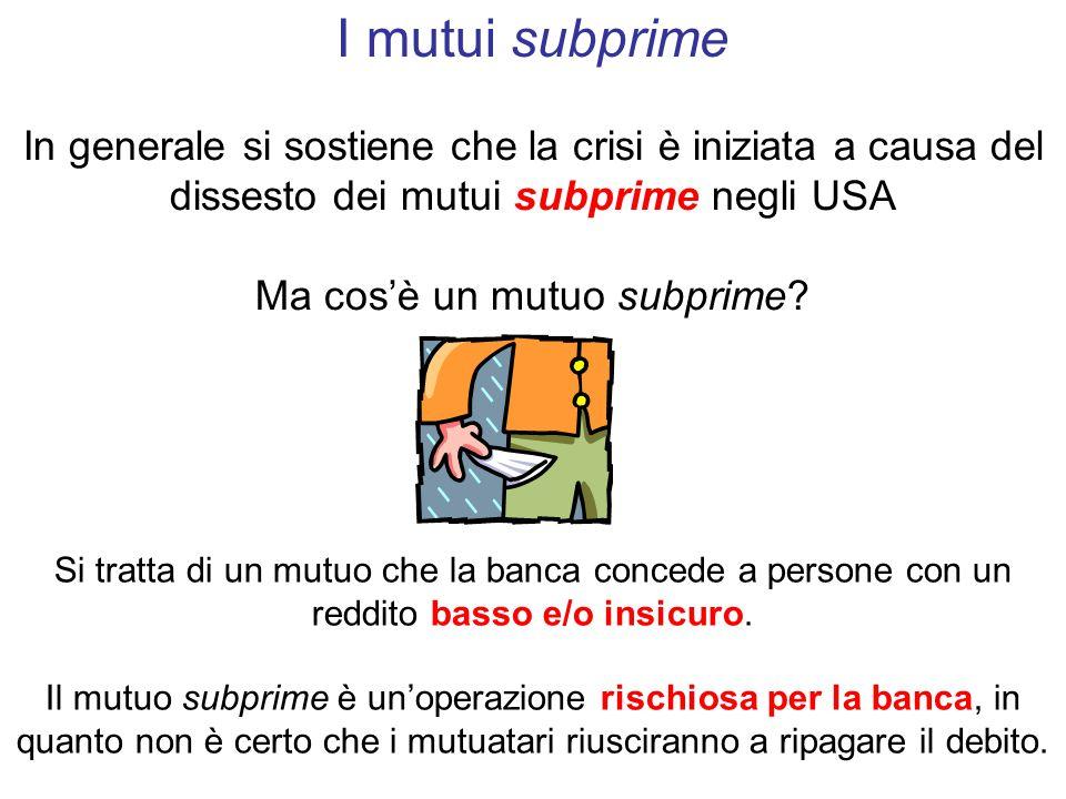 In generale si sostiene che la crisi è iniziata a causa del dissesto dei mutui subprime negli USA Ma cos'è un mutuo subprime.