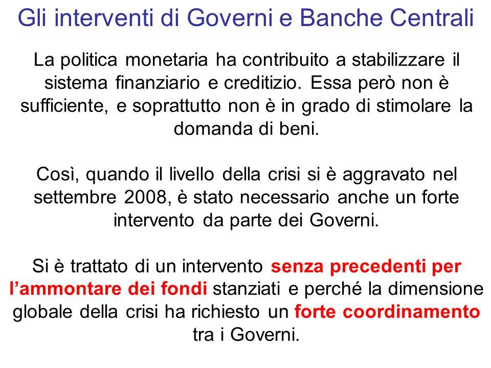 La politica monetaria ha contribuito a stabilizzare il sistema finanziario e creditizio.