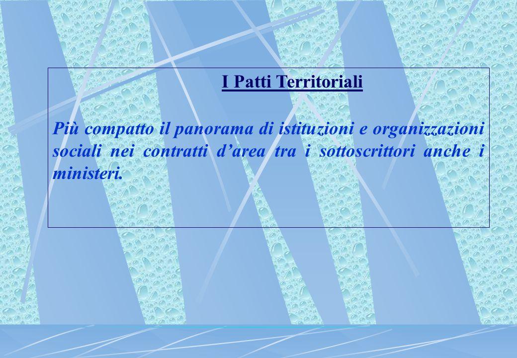 I Patti Territoriali Più compatto il panorama di istituzioni e organizzazioni sociali nei contratti d'area tra i sottoscrittori anche i ministeri.
