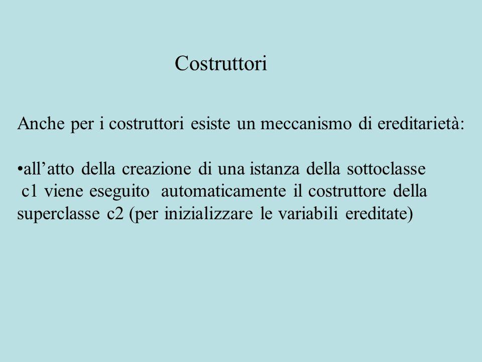 Anche per i costruttori esiste un meccanismo di ereditarietà: all'atto della creazione di una istanza della sottoclasse c1 viene eseguito automaticame