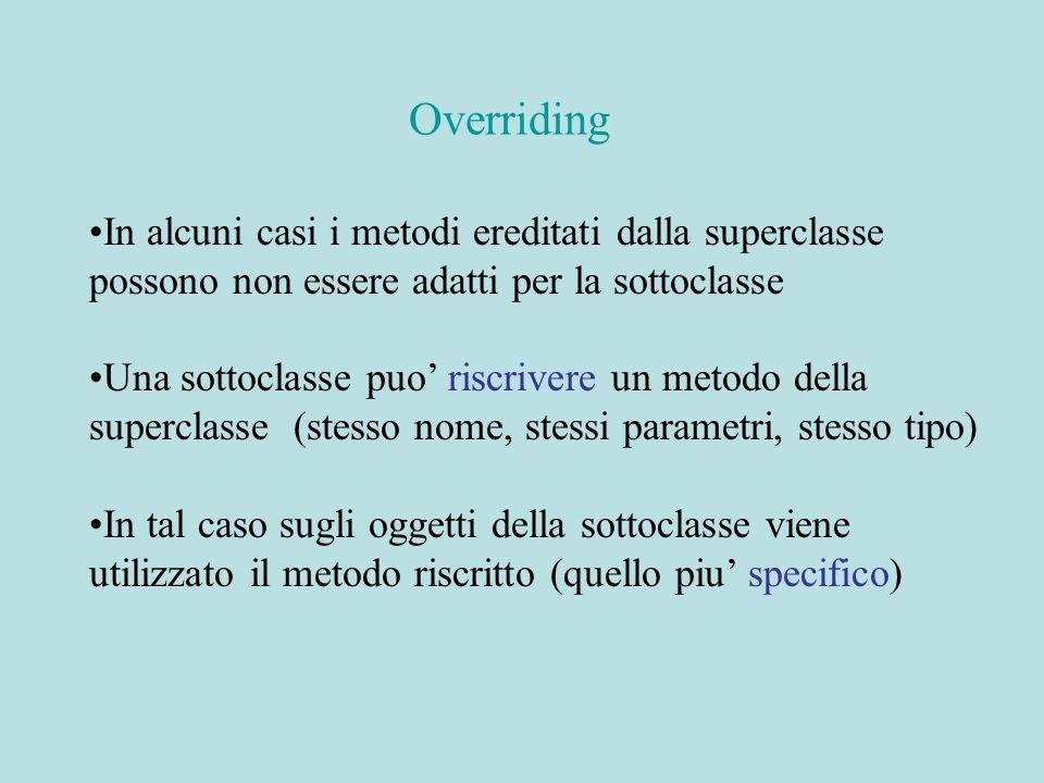 In alcuni casi i metodi ereditati dalla superclasse possono non essere adatti per la sottoclasse Una sottoclasse puo' riscrivere un metodo della superclasse (stesso nome, stessi parametri, stesso tipo) In tal caso sugli oggetti della sottoclasse viene utilizzato il metodo riscritto (quello piu' specifico) Overriding