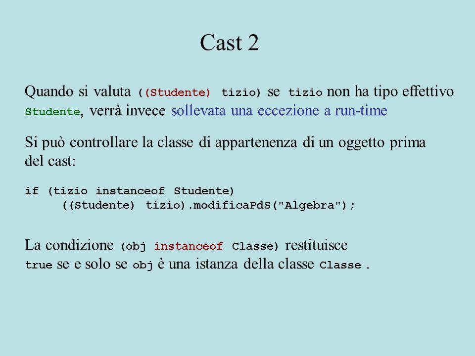 Quando si valuta ((Studente) tizio) se tizio non ha tipo effettivo Studente, verrà invece sollevata una eccezione a run-time Si può controllare la classe di appartenenza di un oggetto prima del cast: if (tizio instanceof Studente) ((Studente) tizio).modificaPdS( Algebra ); La condizione (obj instanceof Classe) restituisce true se e solo se obj è una istanza della classe Classe.