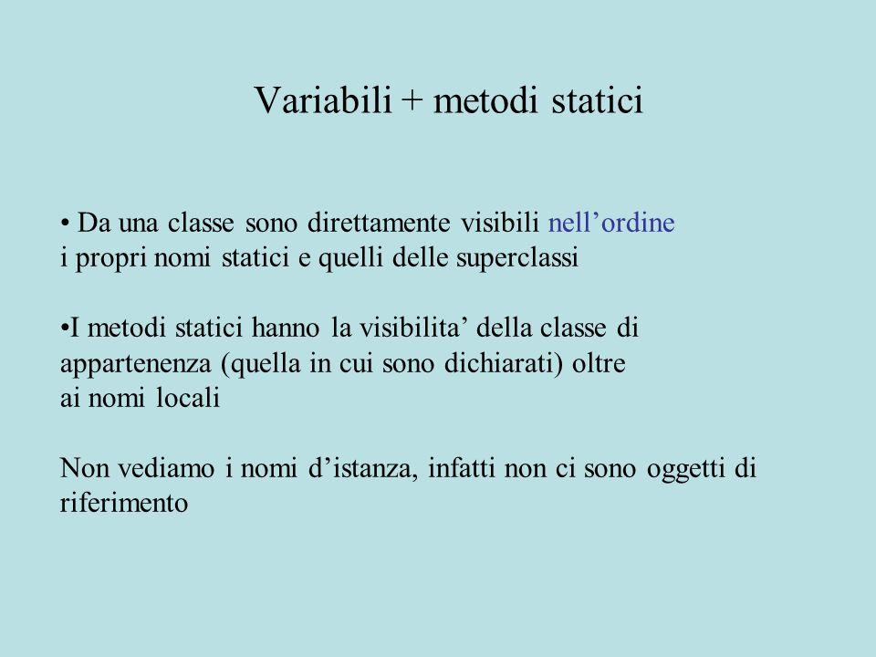 Da una classe sono direttamente visibili nell'ordine i propri nomi statici e quelli delle superclassi I metodi statici hanno la visibilita' della classe di appartenenza (quella in cui sono dichiarati) oltre ai nomi locali Non vediamo i nomi d'istanza, infatti non ci sono oggetti di riferimento Variabili + metodi statici