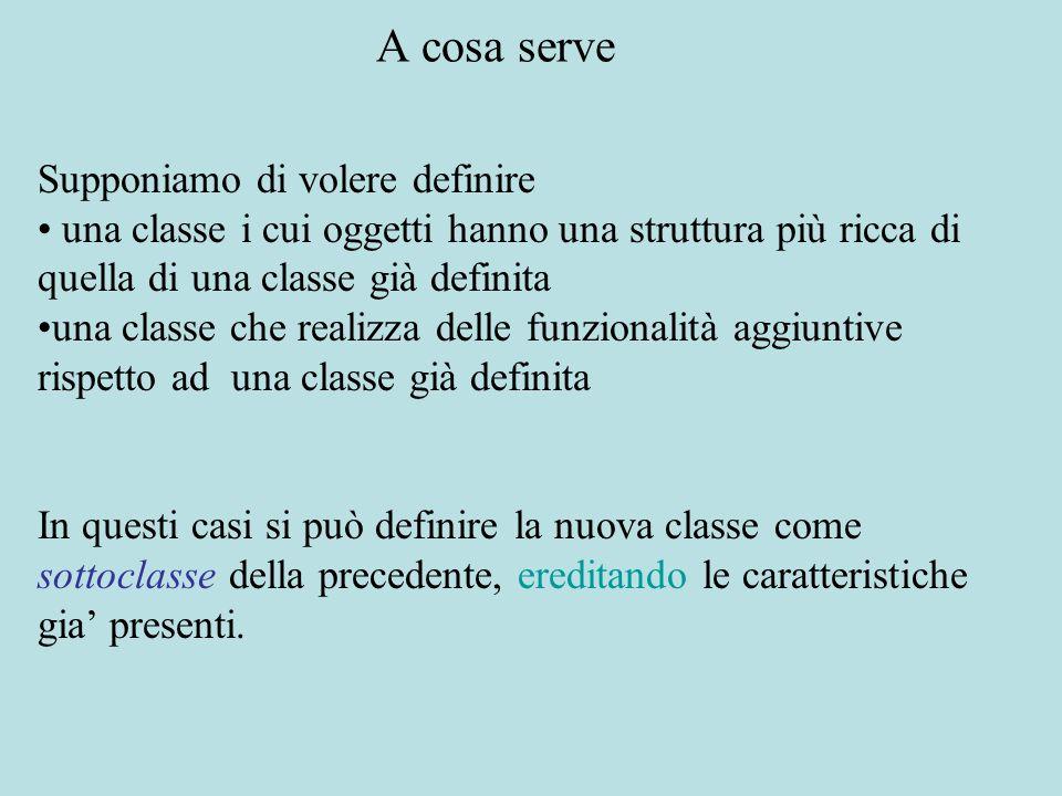 Supponiamo di volere definire una classe i cui oggetti hanno una struttura più ricca di quella di una classe già definita una classe che realizza dell