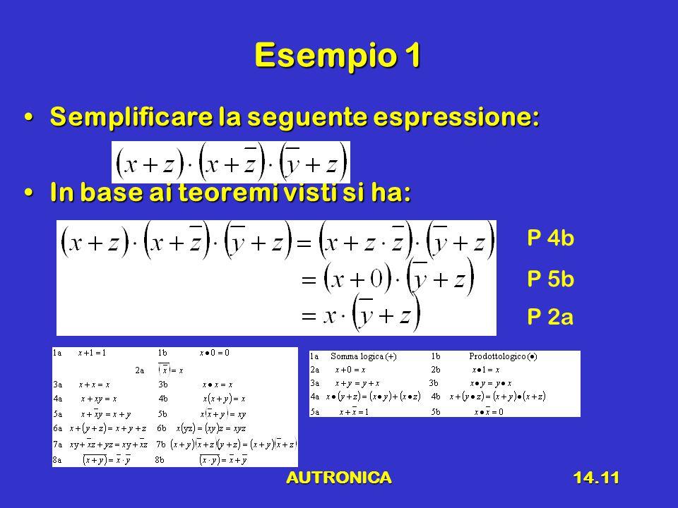AUTRONICA14.11 Esempio 1 Semplificare la seguente espressione:Semplificare la seguente espressione: In base ai teoremi visti si ha:In base ai teoremi visti si ha: P 4b P 5b P 2a