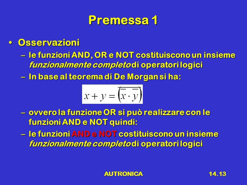 AUTRONICA14.13 Premessa 1 OsservazioniOsservazioni –le funzioni AND, OR e NOT costituiscono un insieme funzionalmente completo di operatori logici –In base al teorema di De Morgan si ha: –ovvero la funzione OR si può realizzare con le funzioni AND e NOT quindi: –le funzioni AND e NOT costituiscono un insieme funzionalmente completo di operatori logici
