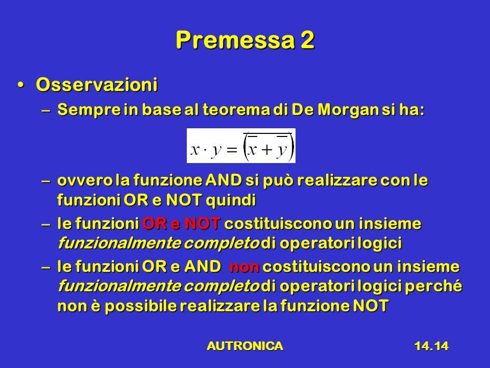 AUTRONICA14.14 Premessa 2 OsservazioniOsservazioni –Sempre in base al teorema di De Morgan si ha: –ovvero la funzione AND si può realizzare con le funzioni OR e NOT quindi –le funzioni OR e NOT costituiscono un insieme funzionalmente completo di operatori logici –le funzioni OR e AND non costituiscono un insieme funzionalmente completo di operatori logici perché non è possibile realizzare la funzione NOT