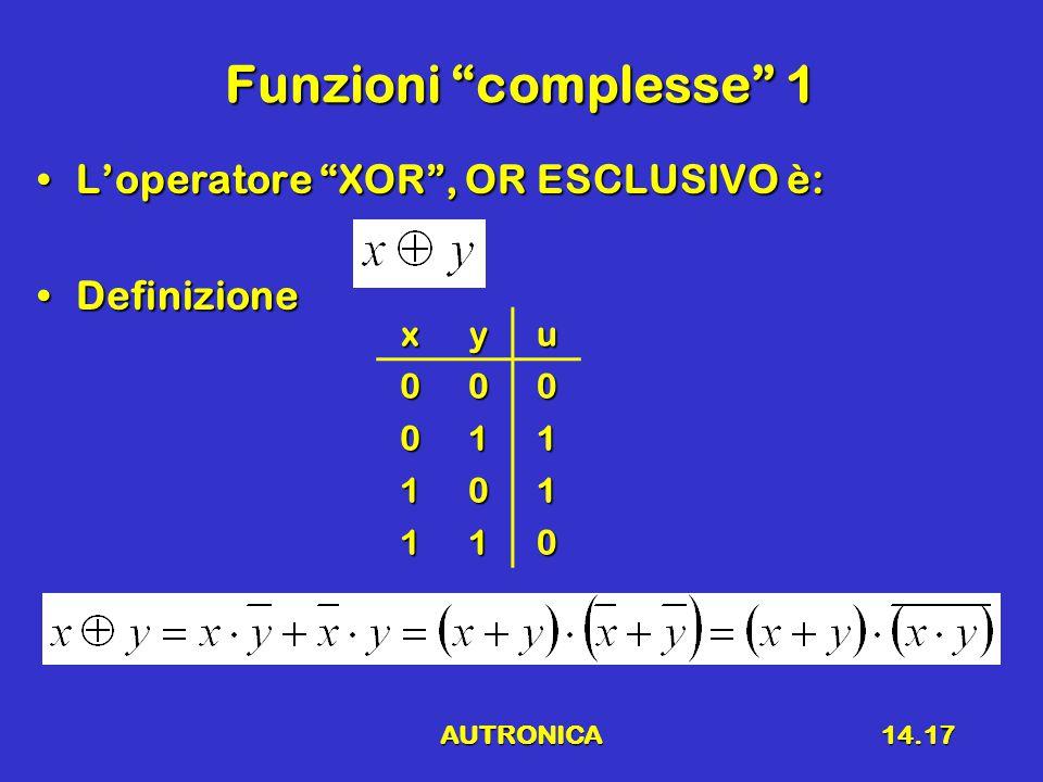 AUTRONICA14.17 Funzioni complesse 1 L'operatore XOR , OR ESCLUSIVO è:L'operatore XOR , OR ESCLUSIVO è: DefinizioneDefinizionexyu000 011 101 110