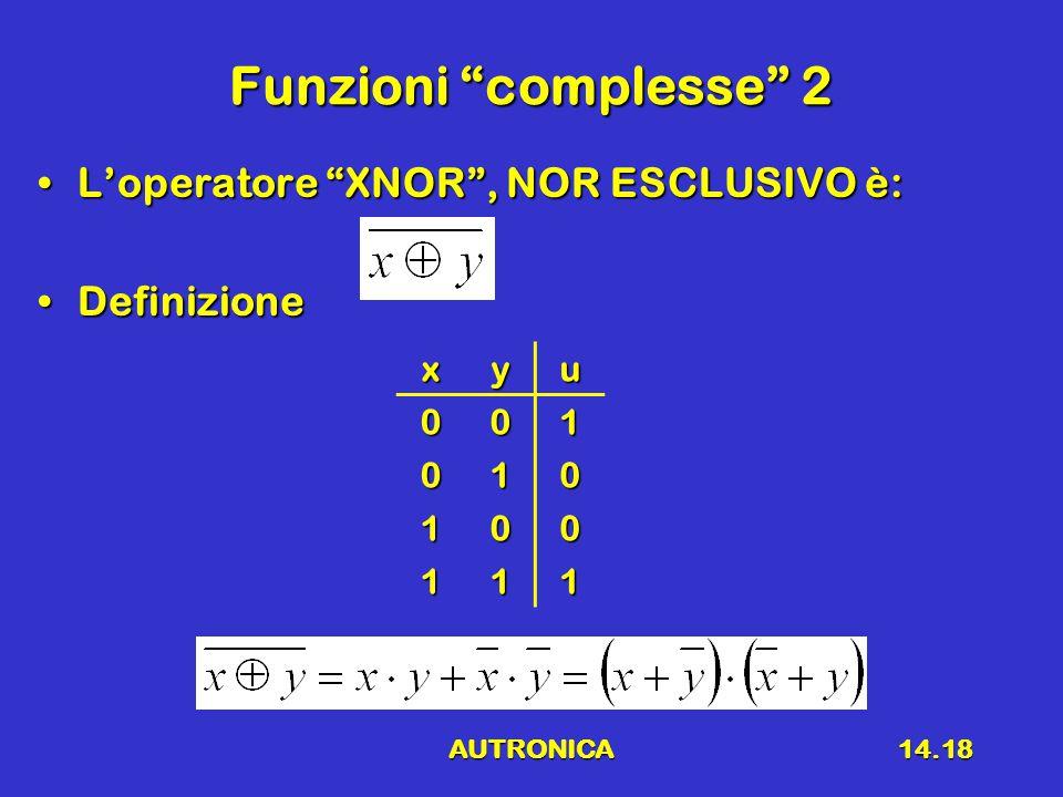 AUTRONICA14.18 Funzioni complesse 2 L'operatore XNOR , NOR ESCLUSIVO è:L'operatore XNOR , NOR ESCLUSIVO è: DefinizioneDefinizionexyu001 010 100 111