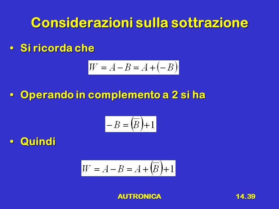 AUTRONICA14.39 Considerazioni sulla sottrazione Si ricorda cheSi ricorda che Operando in complemento a 2 si haOperando in complemento a 2 si ha QuindiQuindi