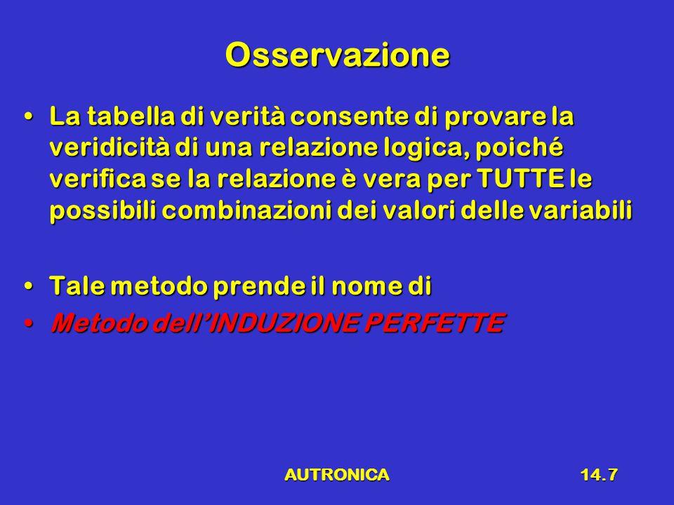 AUTRONICA14.7 Osservazione La tabella di verità consente di provare la veridicità di una relazione logica, poiché verifica se la relazione è vera per