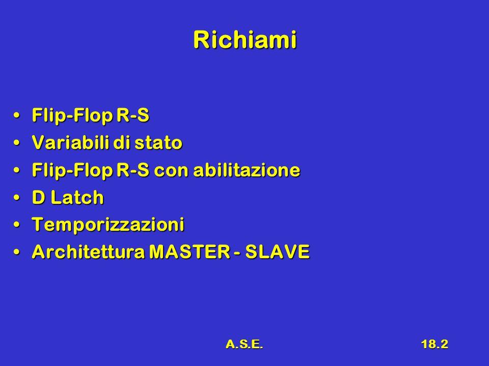 A.S.E.18.2 Richiami Flip-Flop R-SFlip-Flop R-S Variabili di statoVariabili di stato Flip-Flop R-S con abilitazioneFlip-Flop R-S con abilitazione D LatchD Latch TemporizzazioniTemporizzazioni Architettura MASTER - SLAVEArchitettura MASTER - SLAVE