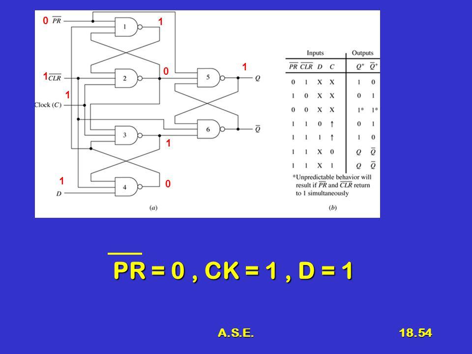 A.S.E.18.54 PR = 0, CK = 1, D = 1 0 1 1 1 1 0 1 0 1