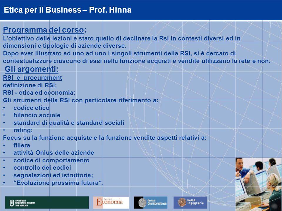 Etica per il Business – Prof.