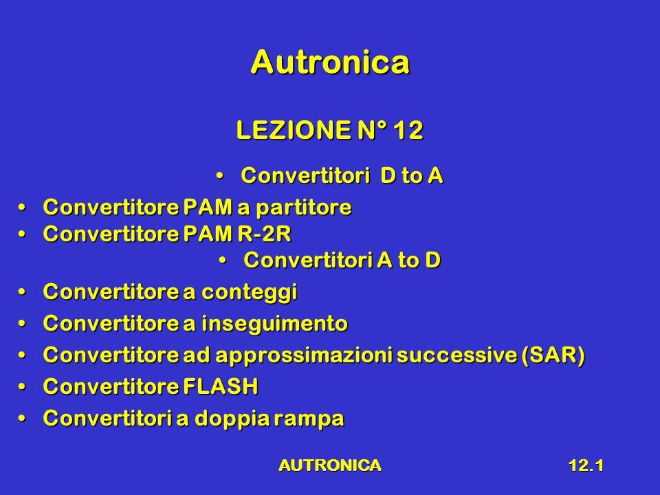 AUTRONICA12.1 Autronica LEZIONE N° 12 Convertitori D to AConvertitori D to A Convertitore PAM a partitoreConvertitore PAM a partitore Convertitore PAM R-2RConvertitore PAM R-2R Convertitori A to DConvertitori A to D Convertitore a conteggiConvertitore a conteggi Convertitore a inseguimentoConvertitore a inseguimento Convertitore ad approssimazioni successive (SAR)Convertitore ad approssimazioni successive (SAR) Convertitore FLASHConvertitore FLASH Convertitori a doppia rampaConvertitori a doppia rampa
