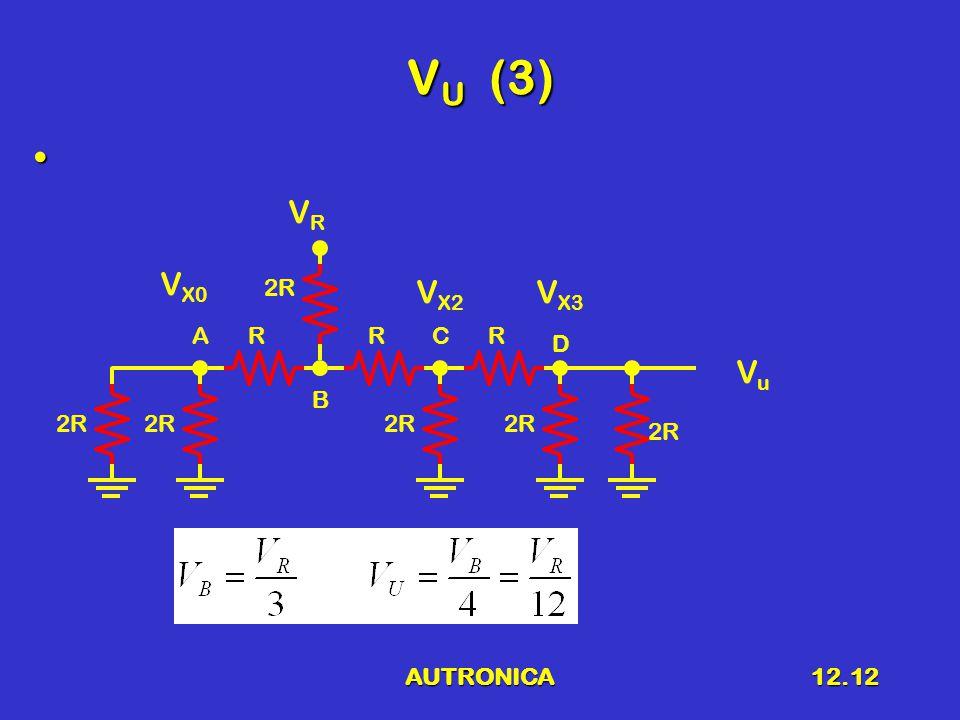 AUTRONICA12.12 V U (3) 2R RRR VRVR V X3 V X2 V X0 A B C D VuVu 2R