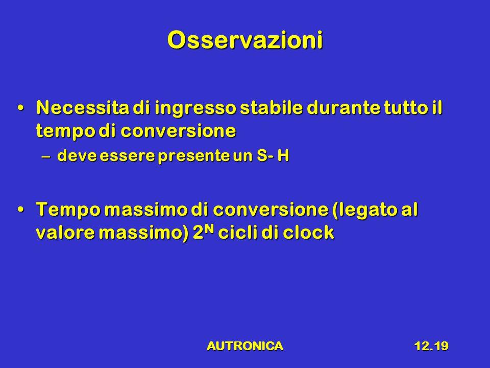 AUTRONICA12.19 Osservazioni Necessita di ingresso stabile durante tutto il tempo di conversioneNecessita di ingresso stabile durante tutto il tempo di conversione –deve essere presente un S- H Tempo massimo di conversione (legato al valore massimo) 2 N cicli di clockTempo massimo di conversione (legato al valore massimo) 2 N cicli di clock
