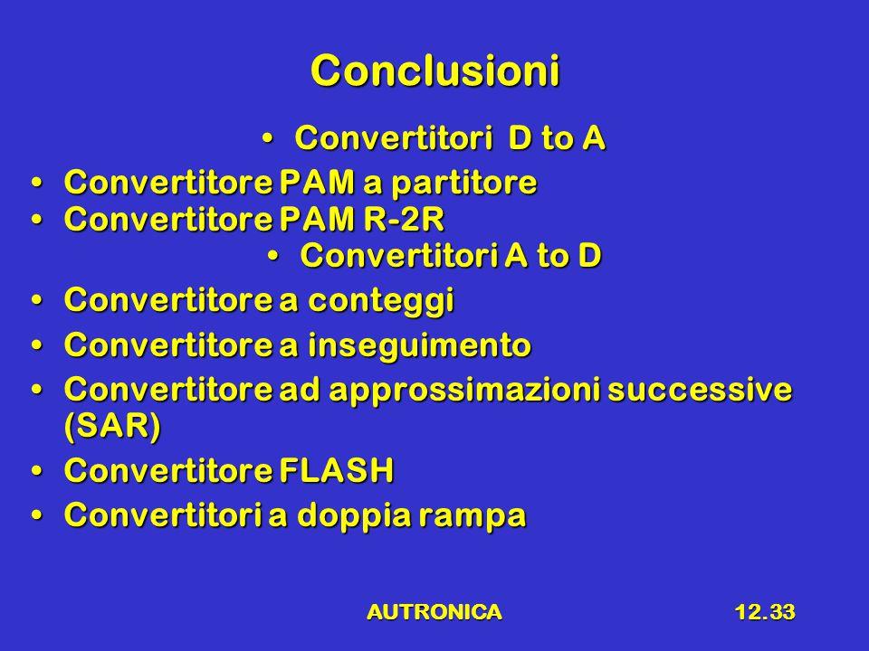 AUTRONICA12.33 Conclusioni Convertitori D to AConvertitori D to A Convertitore PAM a partitoreConvertitore PAM a partitore Convertitore PAM R-2RConvertitore PAM R-2R Convertitori A to DConvertitori A to D Convertitore a conteggiConvertitore a conteggi Convertitore a inseguimentoConvertitore a inseguimento Convertitore ad approssimazioni successive (SAR)Convertitore ad approssimazioni successive (SAR) Convertitore FLASHConvertitore FLASH Convertitori a doppia rampaConvertitori a doppia rampa