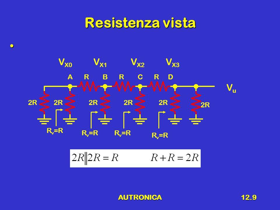 AUTRONICA12.9 Resistenza vista 2R RRR V X3 V X2 V X1 V X0 ABCD VuVu R v =R