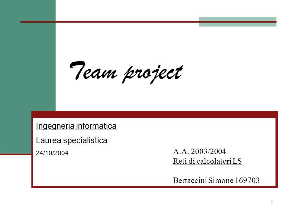 Team Project Bertaccini Simone - 169703 2 Introduzione Uno degli aspetti più complessi da gestire durante l'implementazione e il mantenimento di un progetto è generalmente la collaborazione dei vari componenti del team di sviluppo, in particolare quando team e progetto diventano di medie o grandi dimensioni.