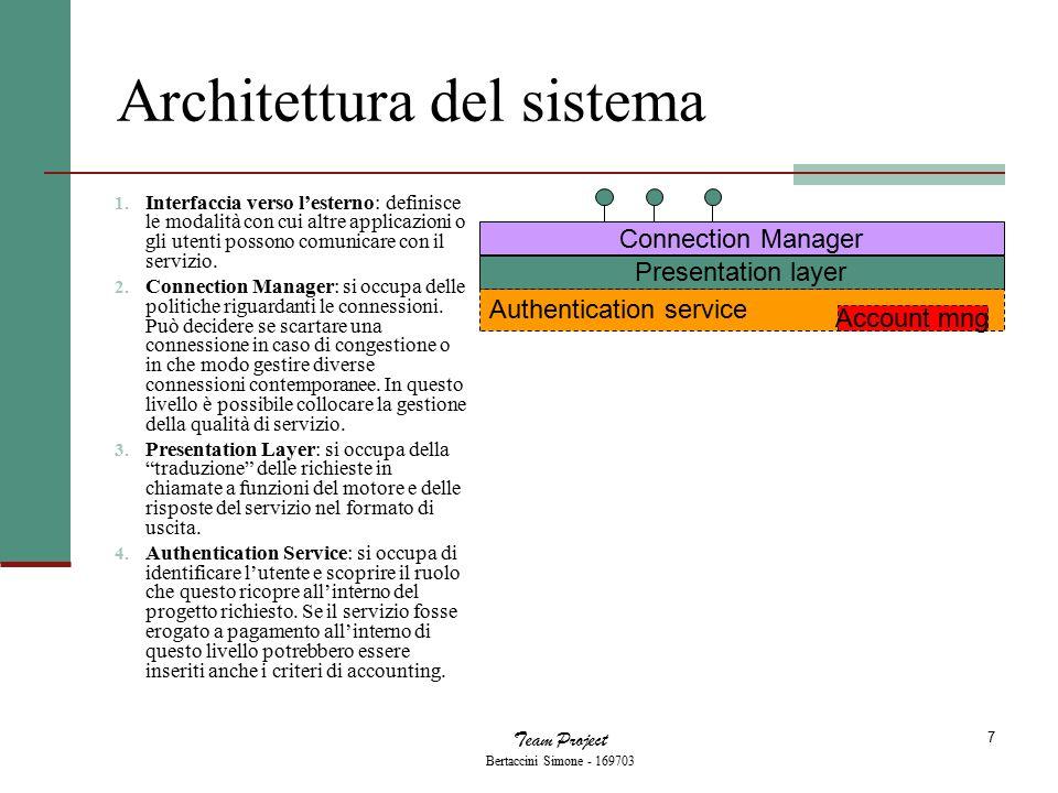 Team Project Bertaccini Simone - 169703 7 Architettura del sistema 1. Interfaccia verso l'esterno: definisce le modalità con cui altre applicazioni o