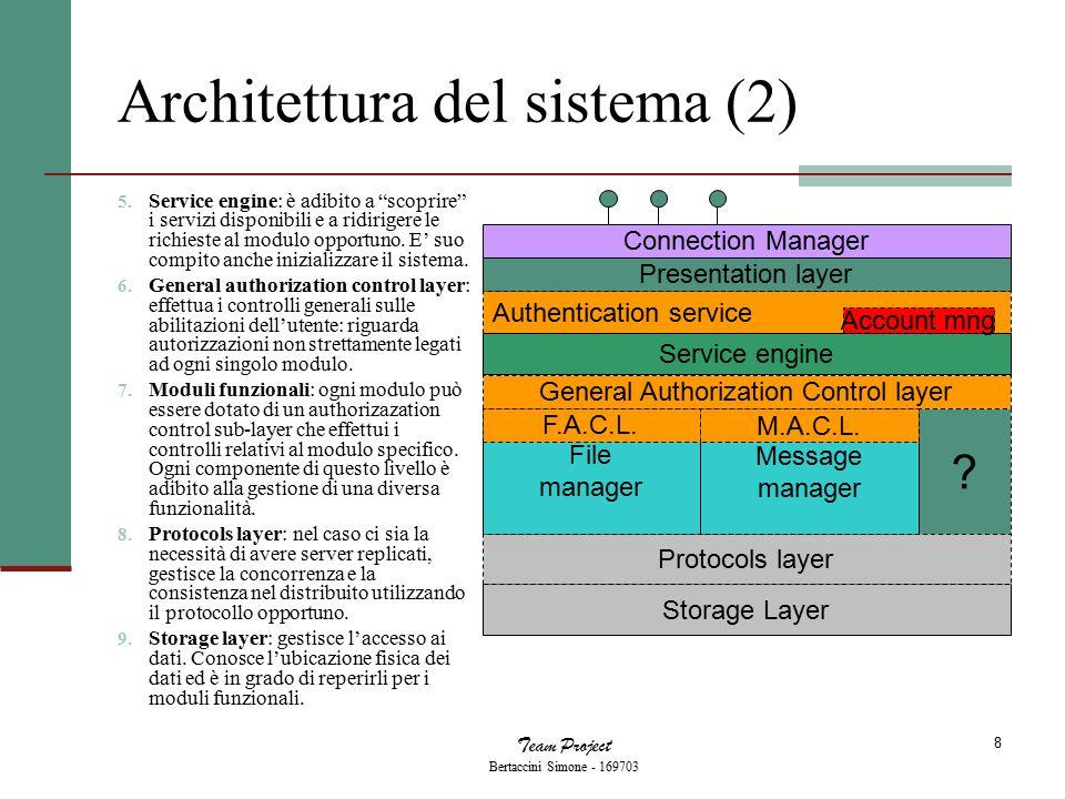 Team Project Bertaccini Simone - 169703 9 Flessibilità dell'architettura Data l'eterogeneità di esigenze che diversi progetti possono presentare, l'architettura è ricca di livelli opzionali.