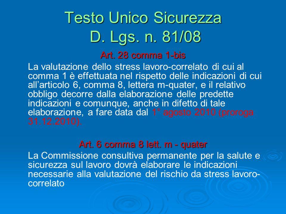 Testo Unico Sicurezza D.Lgs. n. 81/08 Art.